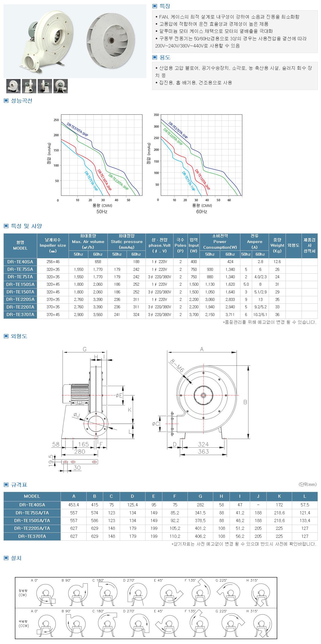 대륜산업 터보고압송풍기(일반) DR-TE Series