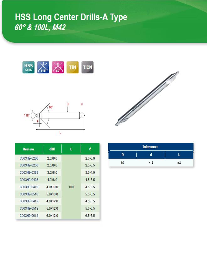 DYC Total Tools HSS Long Center Drills-A Type 60° & 100L, M42 CD03H9 Series