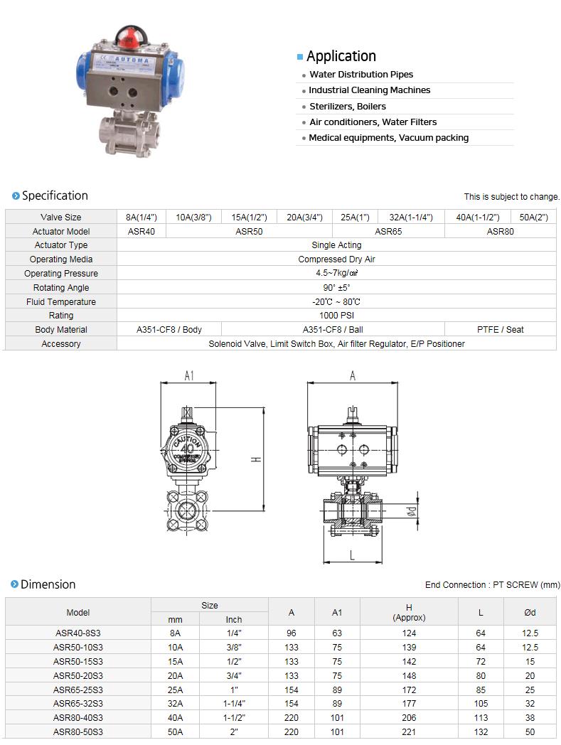 AUTOMA Automatic Valve (Screw 3pc Ball Valve) ADR/ASR-S3 Series 1
