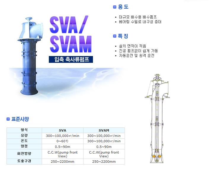신신펌프제작소 입축 축사류펌프 SVA/SVAM