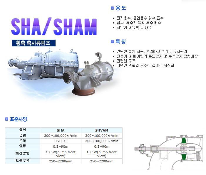 신신펌프제작소 횡축 축사류 펌프 SHA/SHAM