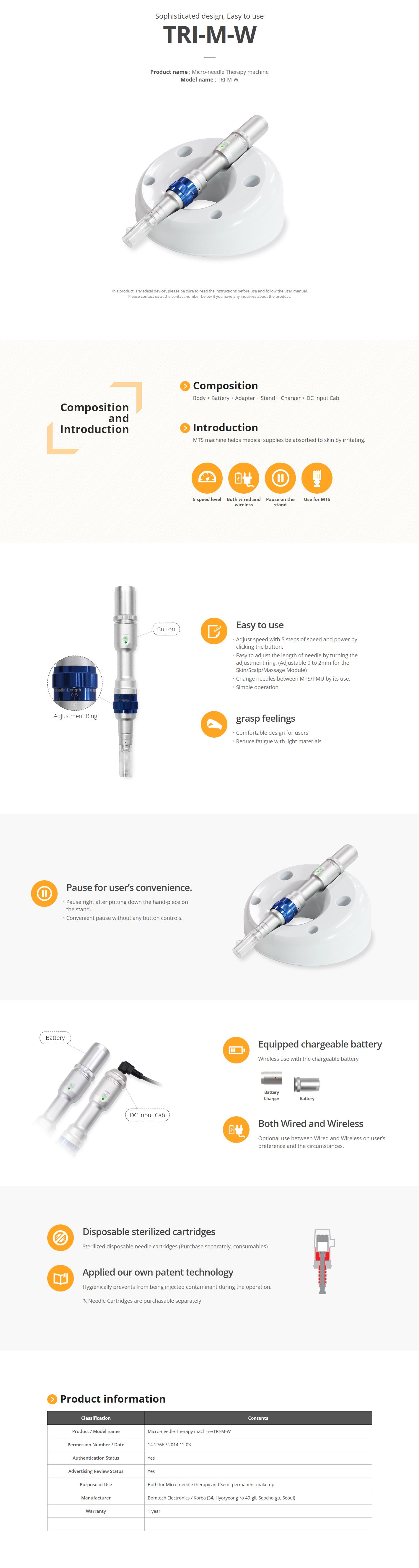Bomtech Micro-needle Therapy machine TRI-M-W