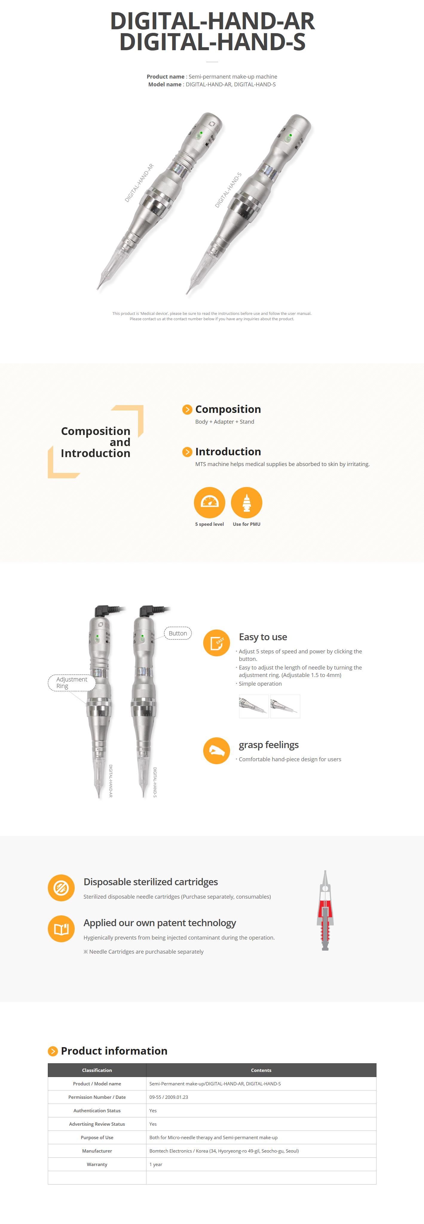 Bomtech Semi-permanent make-up machine DIGITAL-HAND-AR/S