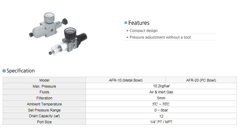 AUTOMA Air Filter Regulator AFR-10/20 Series