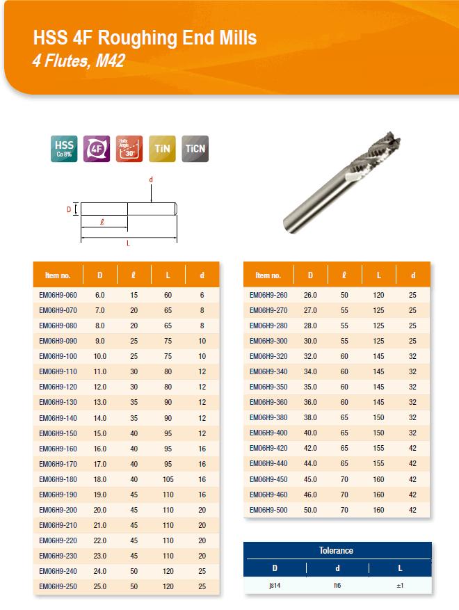 DYC Total Tools HSS 4F Roughing End Mills 4 Flutes, M42 EM06H9 Series