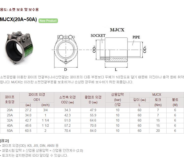 (주)정우카프링 소켓 보수용 MJCX 1