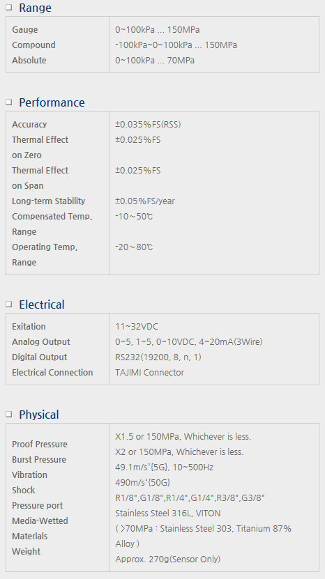 Sensor System Technology Pressure Transmitters for Precision Model PHP