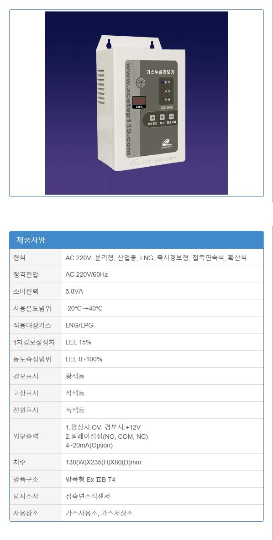 (주)에이스전자 산업용 가스누설경보기 GRD-3000