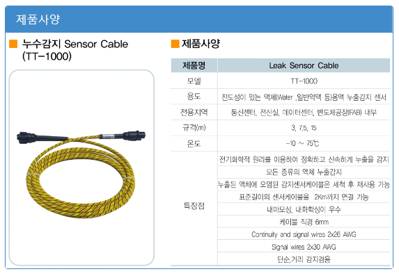 (주)에이스전자 일반케이블 / 누수감지센서 (단순,거리겸용) TT-1000