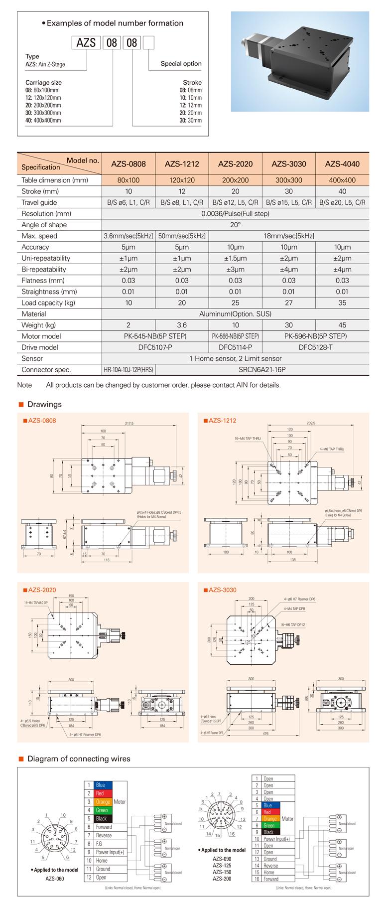 AIN Motorized Cross Roller Guide Z-stage AZS-0808/1212/2020/3030/4040 Type
