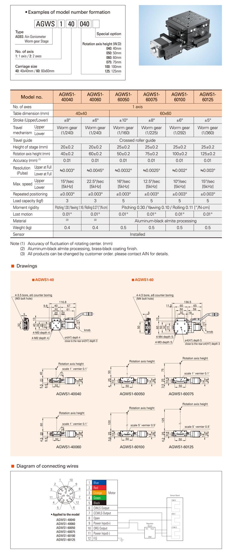 AIN Motorized Goniometer Worm Gear Stage AGWS1-40/60 Type