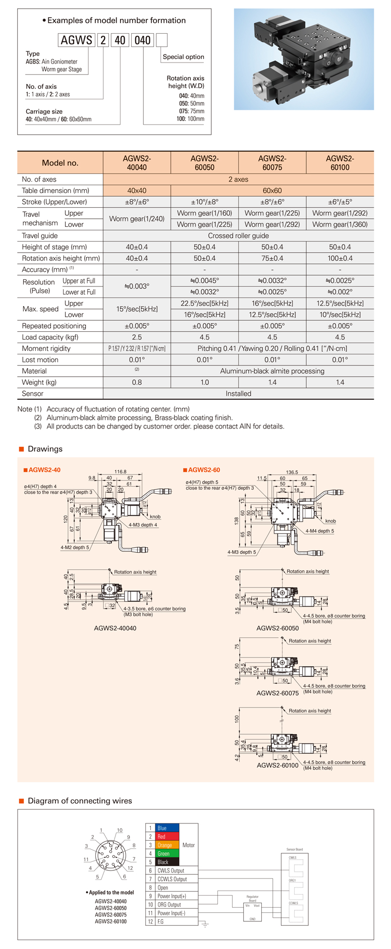 AIN Motorized Goniometer Worm Gear Stage AGWS2-40/60 Type