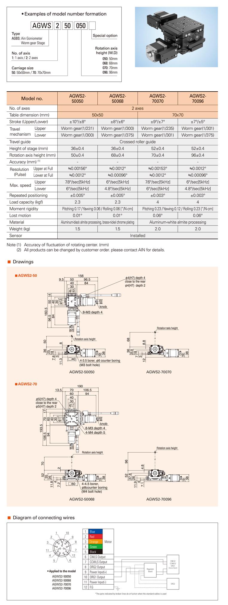 AIN Motorized Goniometer Worm Gear Stage AGWS2-50/70 Type