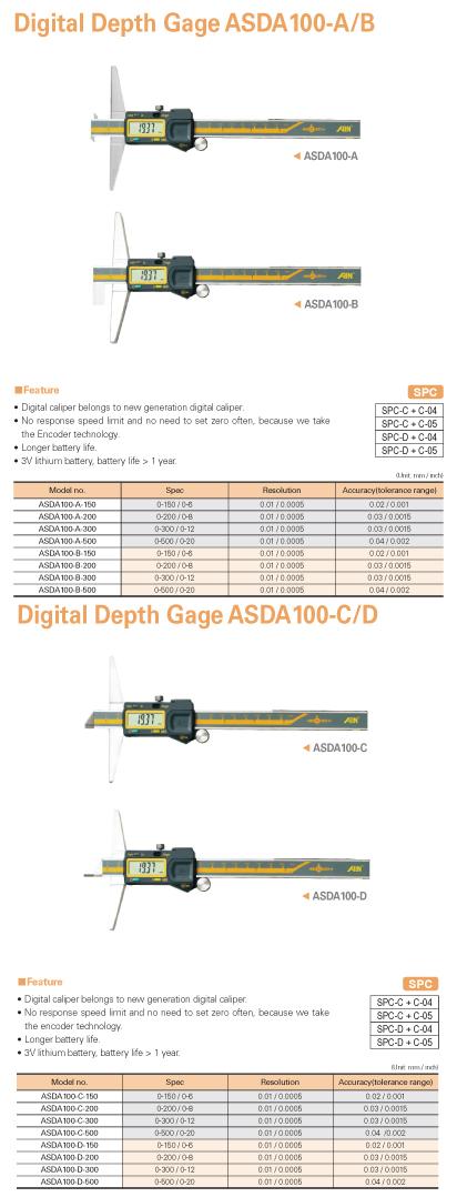 AIN Digital Depth Gage ASDA100-A/B/C/D
