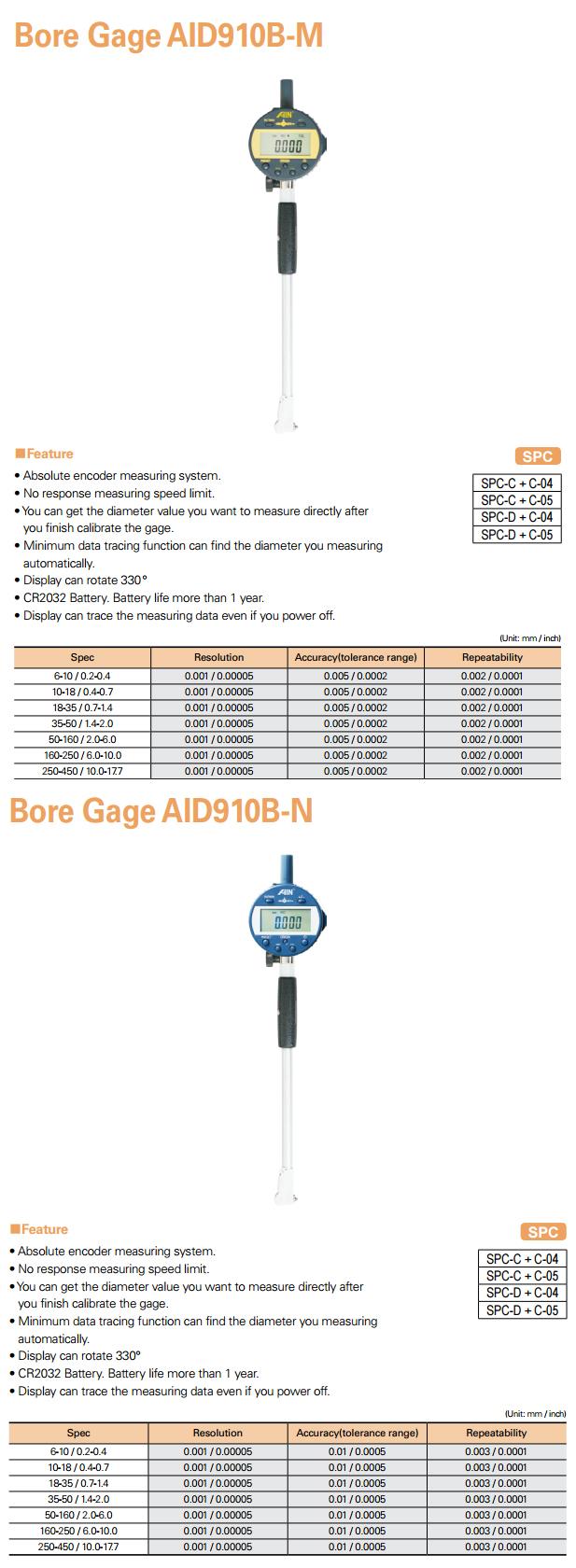 AIN Bore Gage AID910B-M/B-N, AID920B-M/B-N
