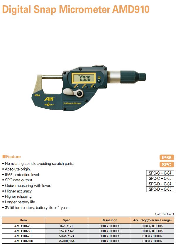 AIN Digital Snap Micrometer AMD910