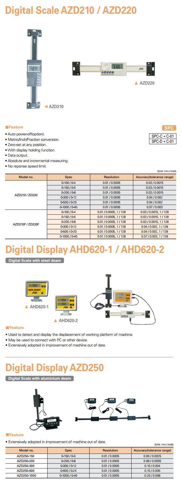 AIN Digital Scale / Digital Display AZD210/220, AHD620-1/620-2, AZD250