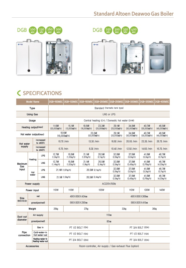 ALTOEN DAEWOO Standared Gas Boiler DGB-MSC Series 1