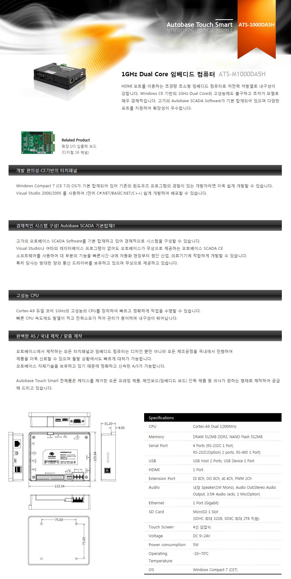 (주)오토베이스 1GHz Dual Core 임베디드 컴퓨터 ATS-M1000DA5H 1
