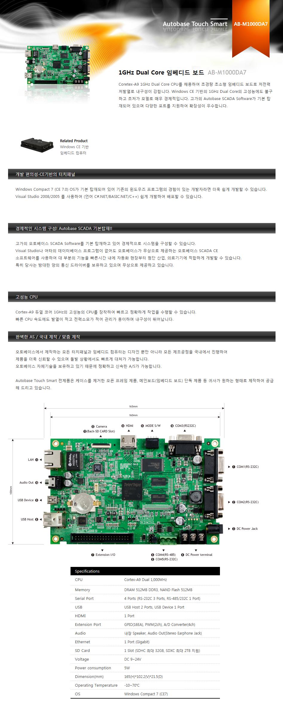 (주)오토베이스 1GHz Dual Core 임베디드 보드 AB-M1000DA7 1