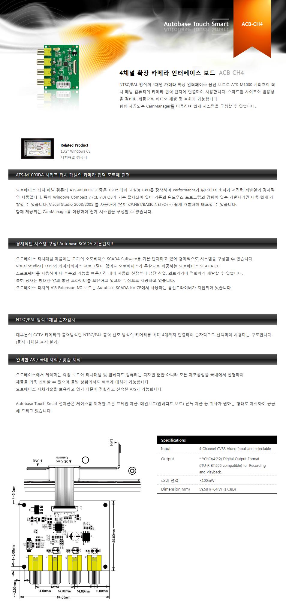 (주)오토베이스 4채널 확장 카메라 인터페이스 보드 ACB-CH4 1