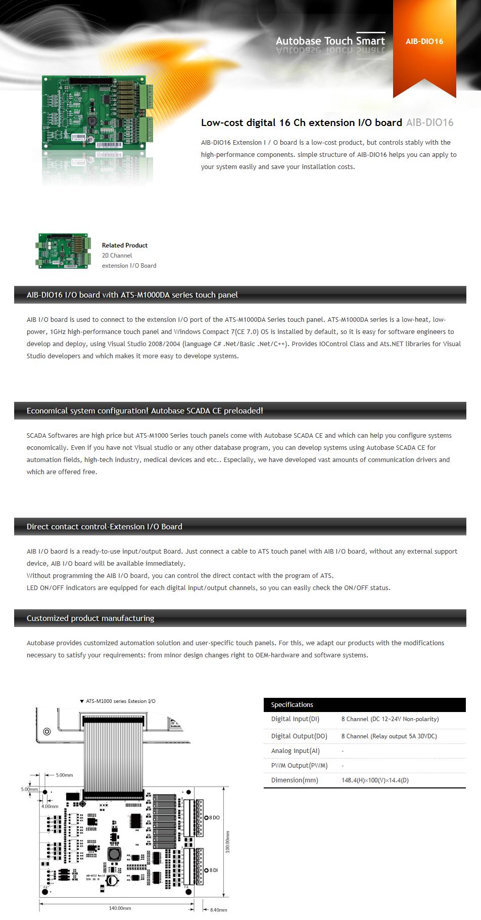 AUTOBASE Low-cost digital 16 Ch extension I/O board AIB-DIO16