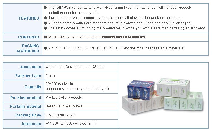 AUTOPACK KOREA Horizontal Type Multi Packing Machine APSH-150S