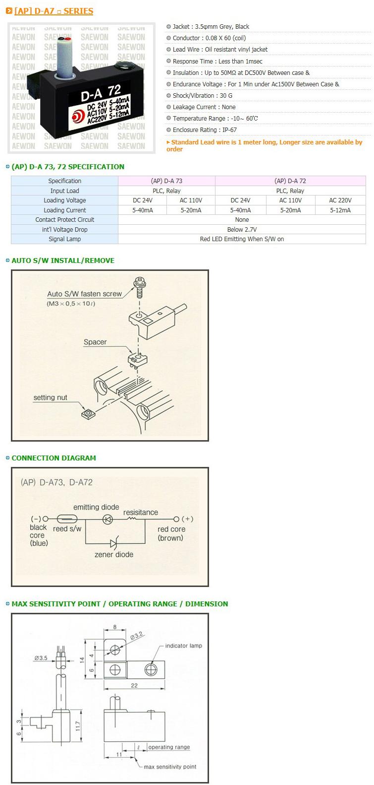 Saewon Electronics DSC AP D-A7 Series