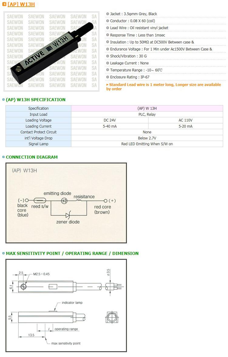 Saewon Electronics DSC AP W13H