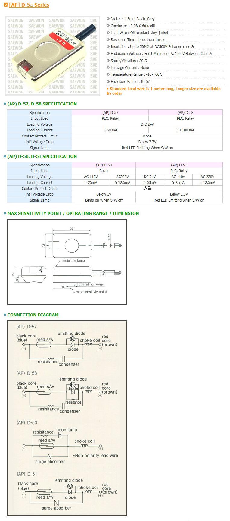 Saewon Electronics DSC AP D-5 Series