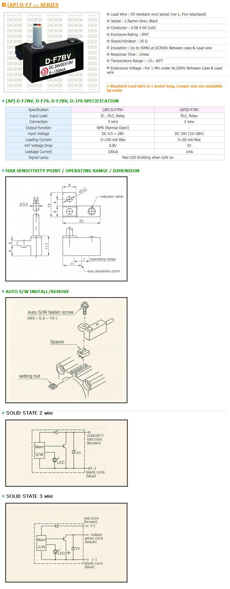 Saewon Electronics PLC AP D-F7 Series