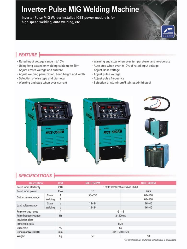 AUTOWEL Inverter Pulse MIG Welding Machine NICE-350PM / NICE-500PM