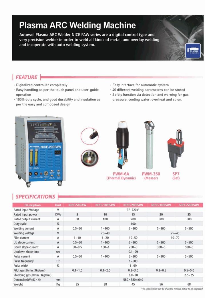 AUTOWEL Plasma ARC Welding Machine NICE Series