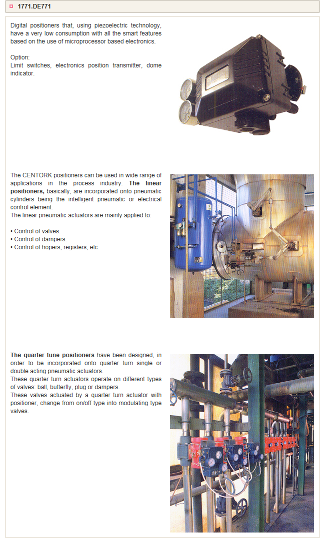 Goldline Tech Centork Positioners Applications
