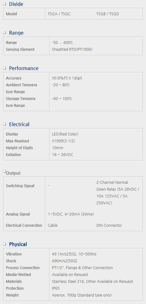 Sensor System Technology Digital Temperature Transmitter for External Power TSG