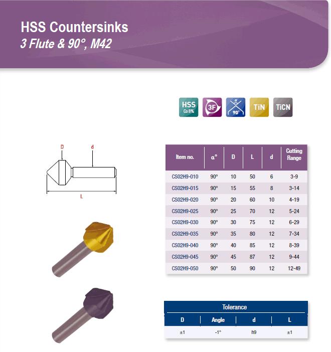DYC Total Tools HSS Countersinks 3 Flute & 90°, M42 CS02H9 Series