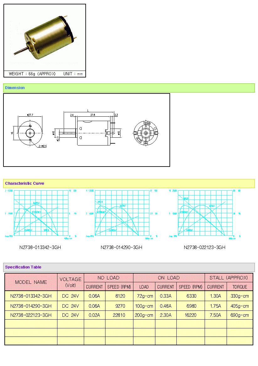 KOREA I.G Motor  N2738 Series B