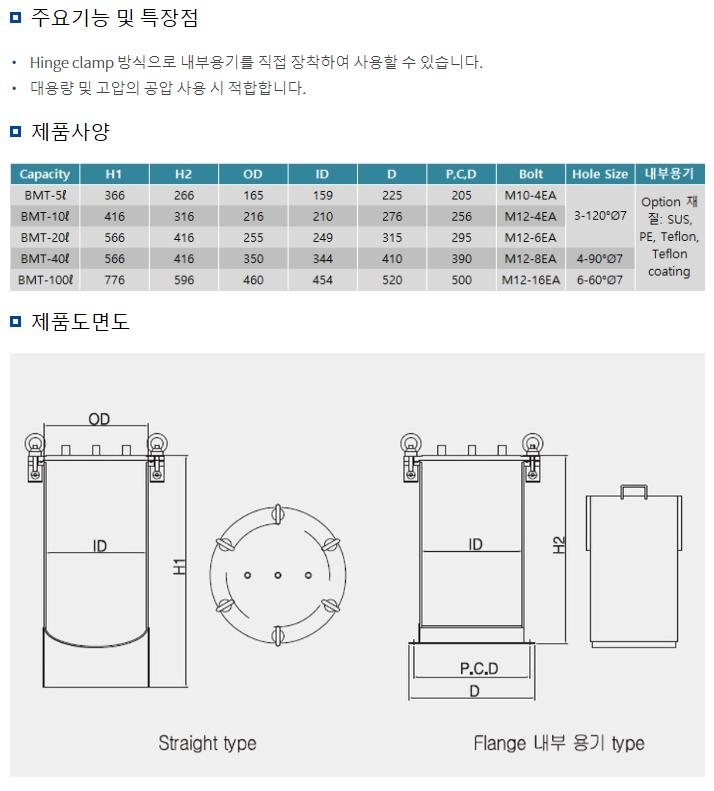 (주)반석정밀공업 Pressure Tank BMT Type