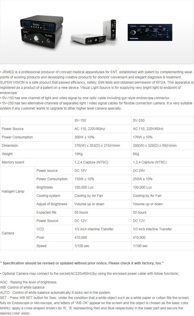 JRMED Visual Light Source SV-150/250