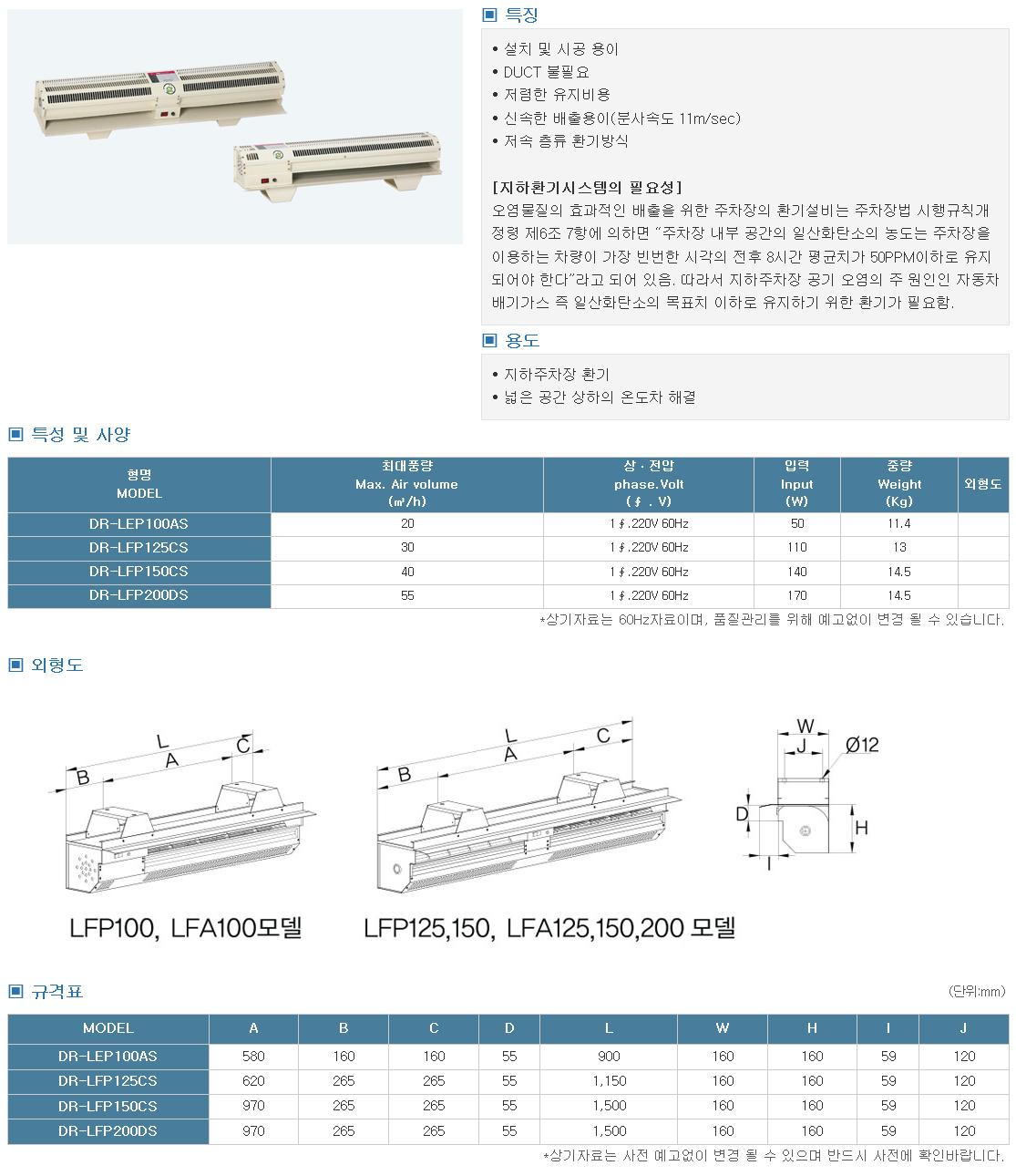대륜산업 롱팬 DR-LEP Series