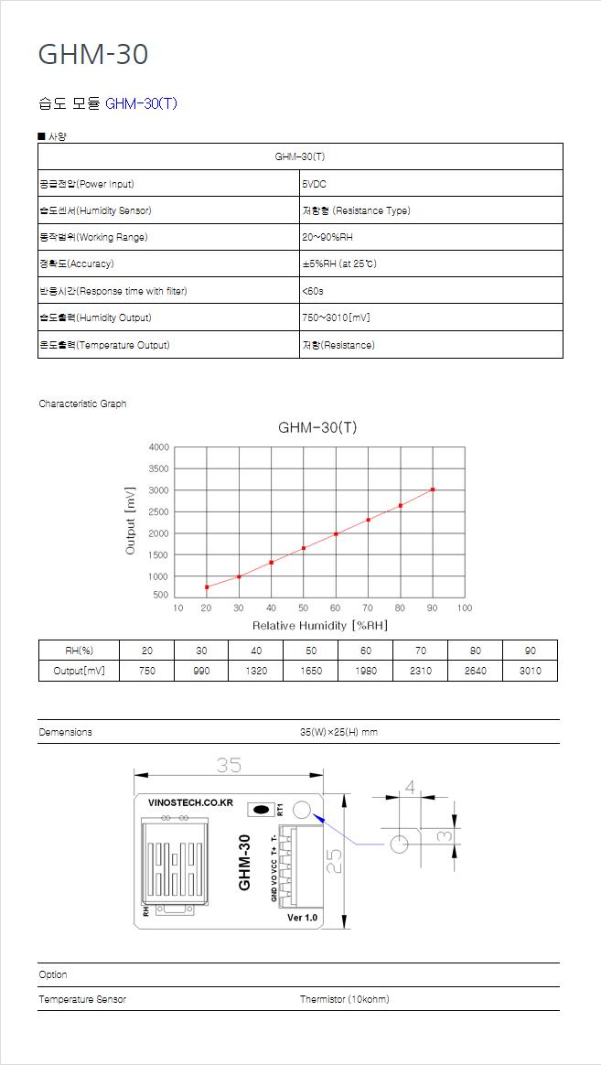 (주)비노스텍 습도 모듈 GHM-30 1