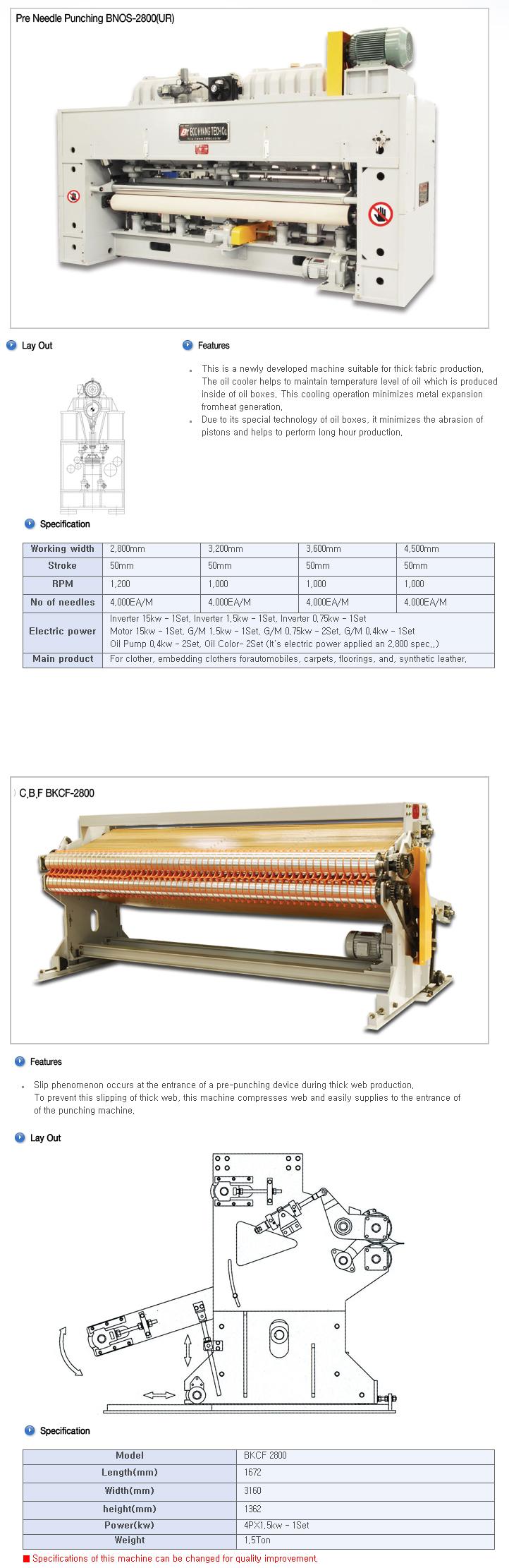 BOOKWANG TECH Pre Needle Punching Machine BNOS-2800 (UR) / BKCF-2800