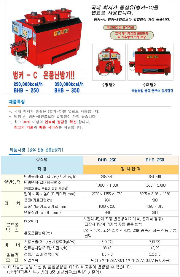 (주)범한 종유 온풍난방기 BHB-250 / 350