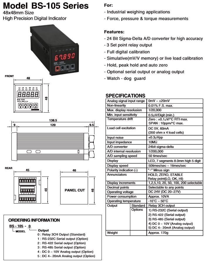 BONGSHIN LOADCELL High Precision Digital Indicator BS-105 Series