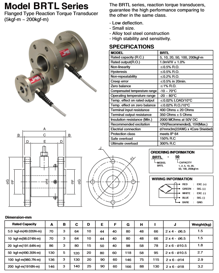BONGSHIN LOADCELL Flanged Type Reaction Torque Transducer BRTL Series
