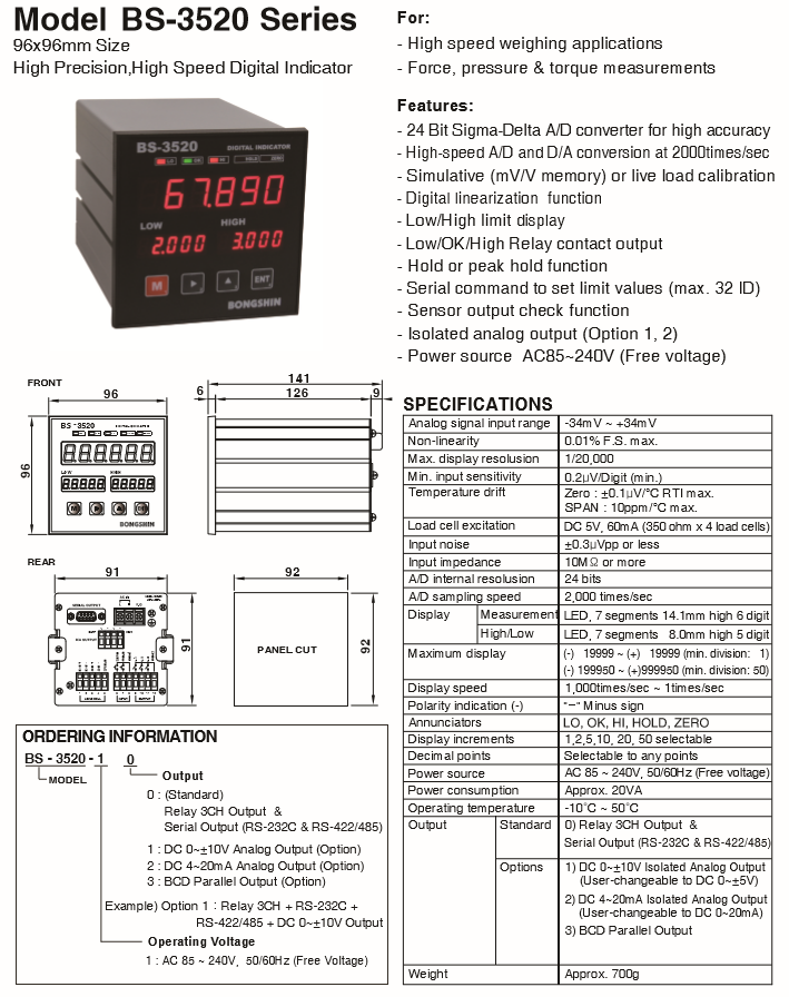 BONGSHIN LOADCELL High Precision, High Speed Digital Indicator BS-3520 Series