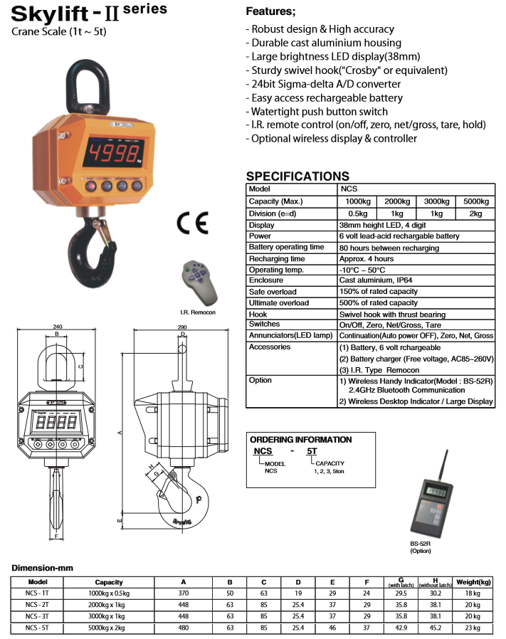 BONGSHIN LOADCELL Crane Scale (1t to 5t) Skylift - Ⅱ Series