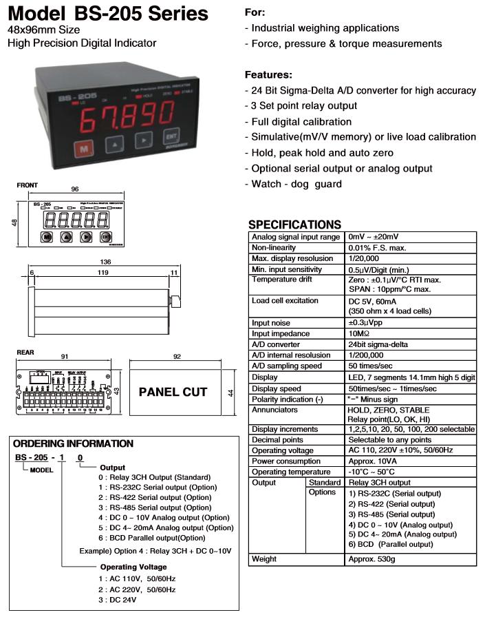BONGSHIN LOADCELL High Precision Digital Indicator BS-205 Series