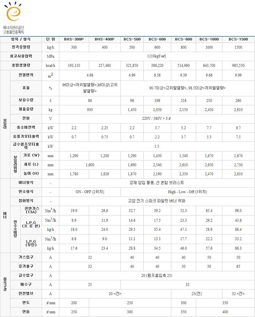 (주)부스타 고효율 보일러 BHS-P/BCS Series