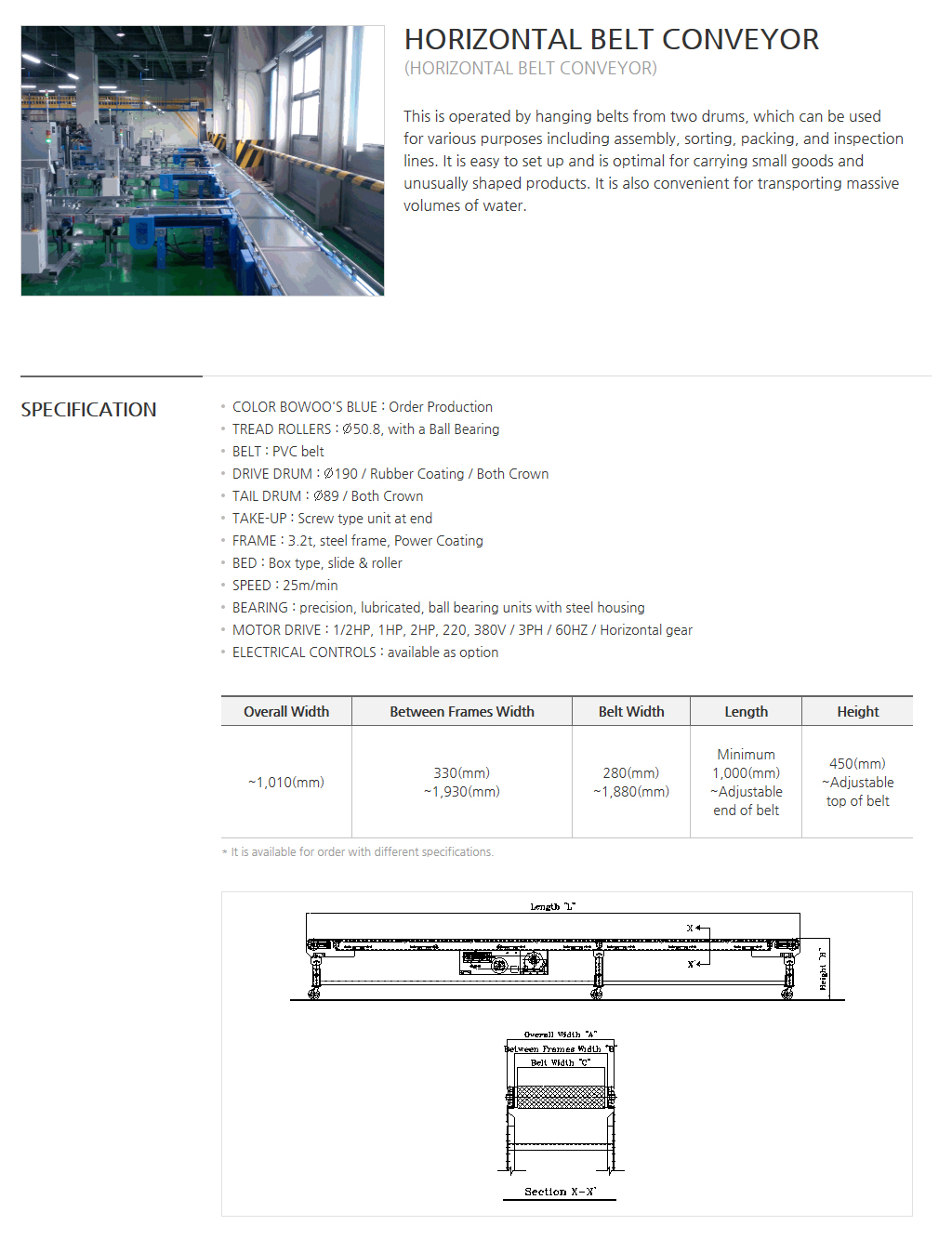 BOWOOSYSTEM Power Conveyor : Horizontal Belt Conveyor